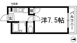 大阪府箕面市箕面5丁目の賃貸マンションの間取り