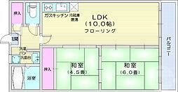 仙台市営南北線 愛宕橋駅 徒歩1分の賃貸マンション 2階2LDKの間取り