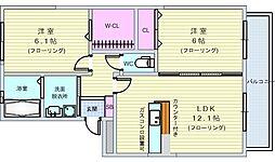北大阪急行電鉄 桃山台駅 徒歩23分の賃貸アパート 1階2LDKの間取り