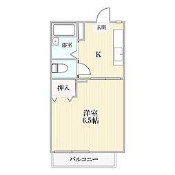 ガーデンハイツ関山[206号室]の間取り