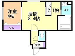 Rose Terrace 1階1LDKの間取り