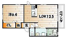 福岡県北九州市戸畑区旭町の賃貸アパートの間取り