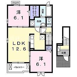 Osaka Metro今里筋線 井高野駅 徒歩11分の賃貸アパート 2階2LDKの間取り