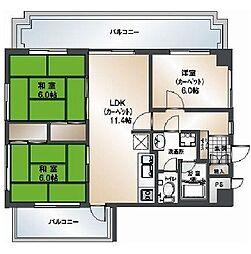 ライオンズマンション薬院第5[8階]の間取り