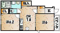 福岡県北九州市小倉南区蒲生1丁目の賃貸アパートの間取り