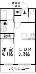 JR赤穂線 西大寺駅 徒歩24分の賃貸アパート 1階1LDKの間取り