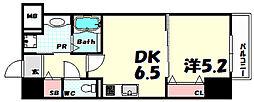 フォレ・リビエール磯辺通 6階1DKの間取り