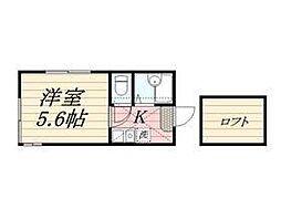 神奈川県横浜市西区浅間台71の賃貸アパートの間取り