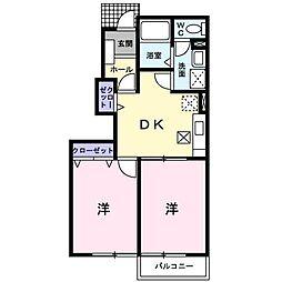 静岡県富士宮市黒田の賃貸アパートの間取り