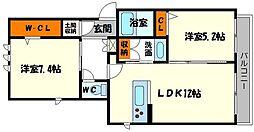 アヴァンセB棟[2階]の間取り