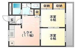 兵庫県小野市神明町の賃貸マンションの間取り