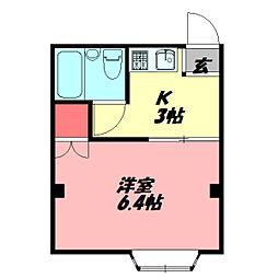 太子橋駅前ハイツII 4階1Kの間取り