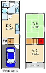 京阪本線 萱島駅 徒歩16分の賃貸テラスハウス 1階2DKの間取り