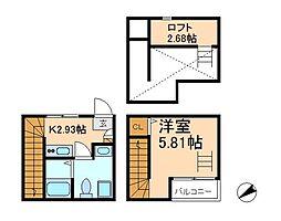 千葉県松戸市新松戸4丁目の賃貸アパートの間取り