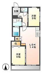 OS・SKYマンション中島新町[2階]の間取り