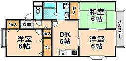兵庫県伊丹市南鈴原1丁目の賃貸アパートの間取り