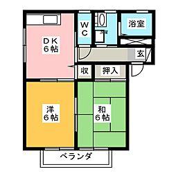 パディ弐番館[2階]の間取り