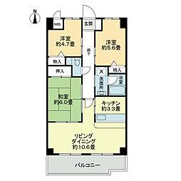 スカール喜多川B棟[4階]の間取り
