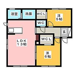 プレ・ソレイユ B[1階]の間取り