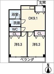 花原マンション[3階]の間取り
