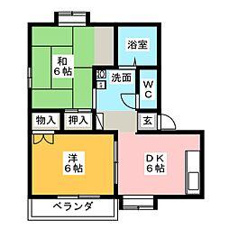 オアシス中央C棟[2階]の間取り