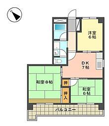 愛知県名古屋市名東区高針3の賃貸マンションの間取り