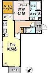 Kスタイル清水[1階]の間取り