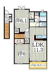 ラ・リヴィエール 2階2LDKの間取り