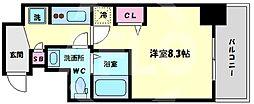 GRACE NORTH NISHITEMMA 7階1Kの間取り