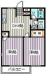 埼玉県戸田市喜沢南1丁目の賃貸アパートの間取り