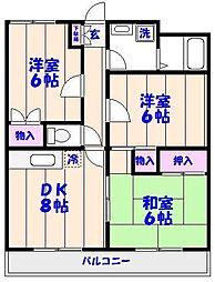 千葉県市川市田尻5丁目の賃貸マンションの間取り