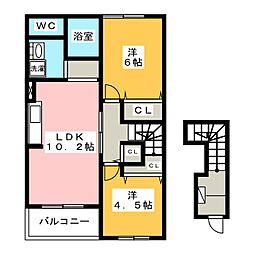 静岡県静岡市葵区与一5丁目の賃貸アパートの間取り
