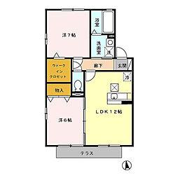 セジュールカルフール B[1階]の間取り