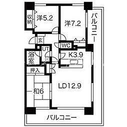 北海道札幌市中央区南八条西15丁目の賃貸マンションの間取り