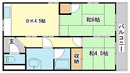 シャトー東洋 5階2DKの間取り