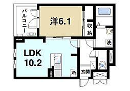 JR片町線(学研都市線) 木津駅 徒歩17分の賃貸アパート 2階1LDKの間取り