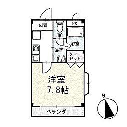 シンエイ毘沙門 2階[201号室]の間取り