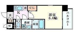 エスリード新大阪グランゲートサウス 4階1Kの間取り