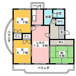 愛知県名古屋市瑞穂区日向町4丁目の賃貸マンションの間取り