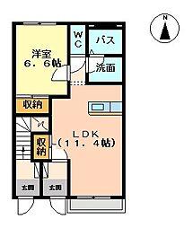 ハート・ヴィラージュII[1階]の間取り