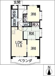 クリスタルパレスフジ[4階]の間取り