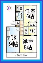 JY プレガーレA[駐車場1台付][2階]の間取り