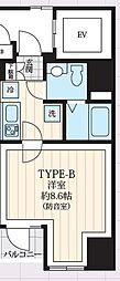 東京メトロ日比谷線 築地駅 徒歩9分の賃貸マンション 4階1Kの間取り
