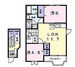 サンビレッジリリー平塚 A[2階]の間取り