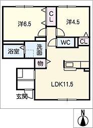 グロリア C棟[1階]の間取り