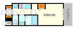 エステムコート新大阪XIIオルティ 4階1Kの間取り