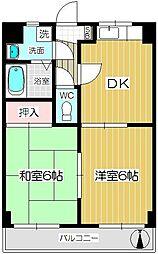 ロイヤルコート北戸田[205号室]の間取り