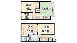 [テラスハウス] 兵庫県伊丹市昆陽 の賃貸【/】の間取り