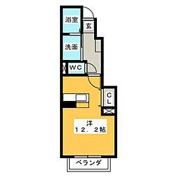 静岡県静岡市清水区梅ヶ谷の賃貸アパートの間取り