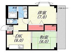 リーベスト広田 3階2DKの間取り